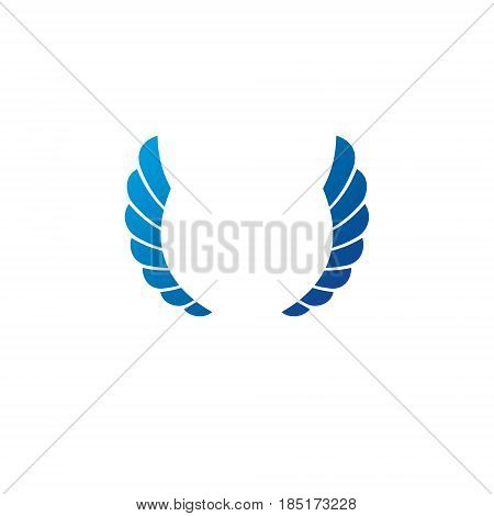 Blue Freedom Wings Emblem. Heraldic Coat Of Arms Decorative Logo Isolated Vector Illustration.
