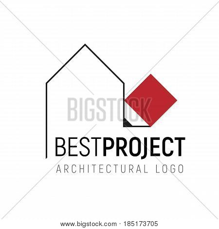 Vector logo template for architectural, design or construction company. Pencil drawing of the building outline. Simple geometric logotype on white background.