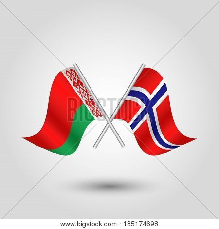 vector two crossed belarusian and norwegian flags on silver sticks - symbol of belarus and norway