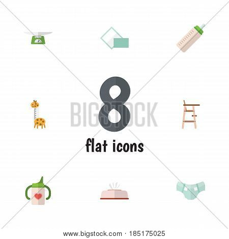 Flat Kid Set Of Nappy, Tissue, Feeder And Other Vector Objects. Also Includes Diaper, Nappy, Child Elements.