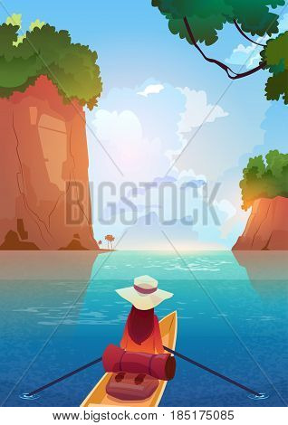 Woman Floating In Boat In Mountains Lake Summer Adventure Vacation Concept Flat Vector Illustration