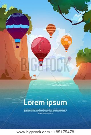 Air Balloons Flying Over Summer Sea Landscape Mountain Rocks Blue Water Flat Vector Illustration