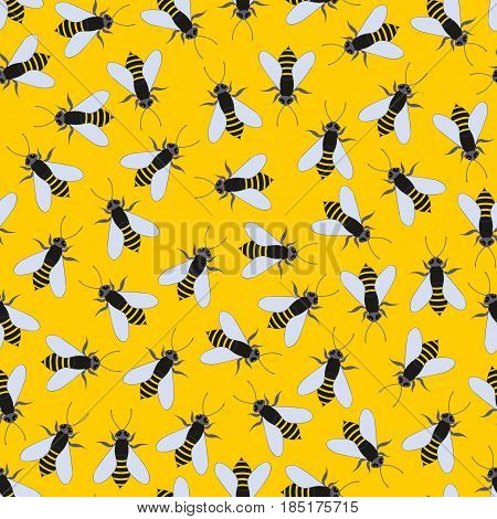 Bees on a yellow background. Vector seamless pattern for design and decoration of textiles baby clothes wallpapers covers packaging and other surfaces