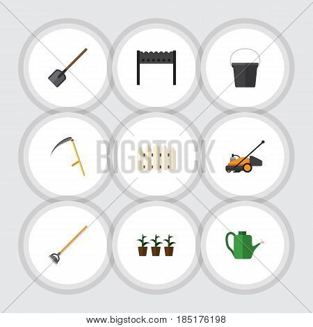 Flat Farm Set Of Shovel, Lawn Mower, Bailer And Other Vector Objects. Also Includes Container, Brazier, Watering Elements.