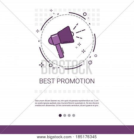 Best Promotion Sale Shopping Banner With Copy Space Thin Line Vector Illustration