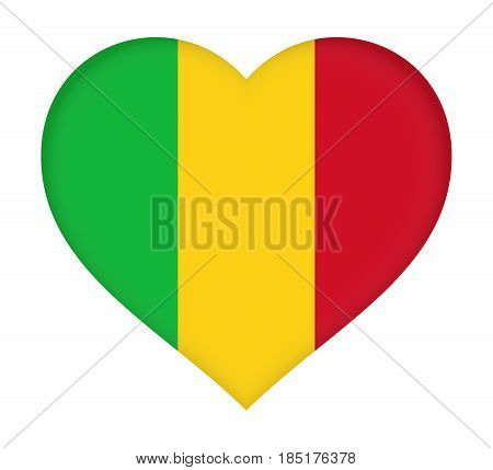Flag Of  Mali Heart