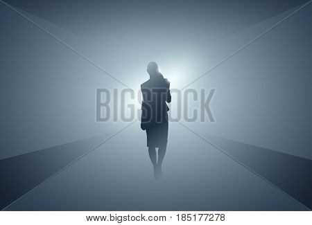 Business Woman Silhouette Making Step Forward Full Length Over Grey Light Background Vector Illustration
