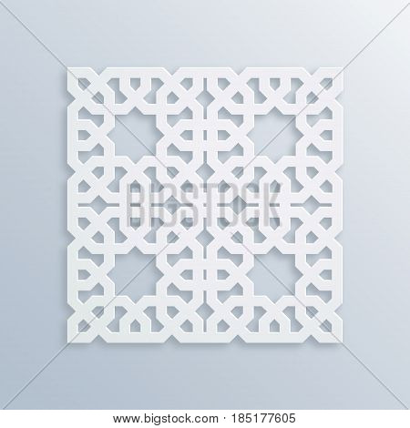 Islamic geometric pattern. Sacred geometry. Vector muslim mosaic, persian motif. Elegant white oriental ornament, traditional arabic art. Mosque decoration element. 3D illustration for greeting cards