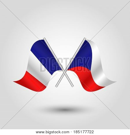 vector two crossed french and czech flags on silver sticks - symbol of france and czech republic