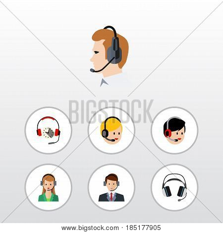 Flat Telemarketing Set Of Headphone, Call Center, Earphone And Other Vector Objects. Also Includes Online, Call, Service Elements.