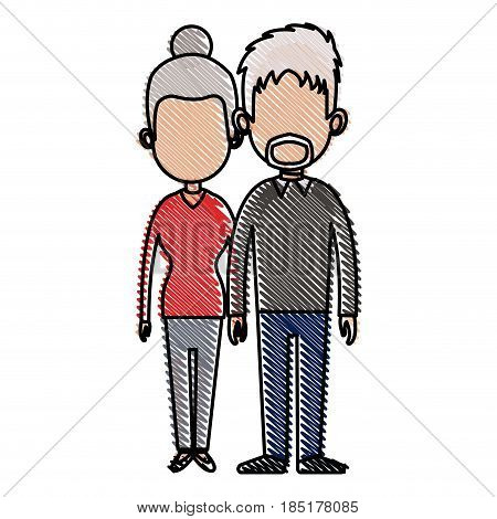 drawing couple lovely together relationship image vector illustration