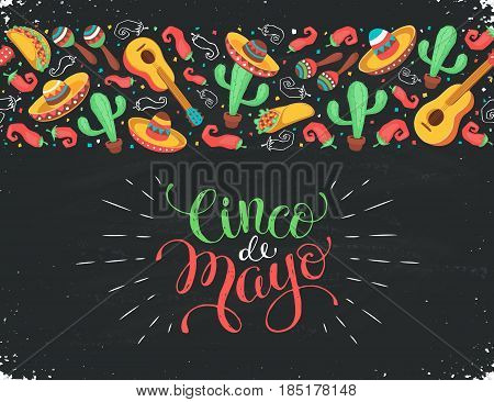 Cinco de Mayo poster  in horizontal stripe composition. Mexican culture symbols collection. Guitar, sombrero, maracas, cactus and jalapeno on chalkboard. Cinco de Mayo greeting card.