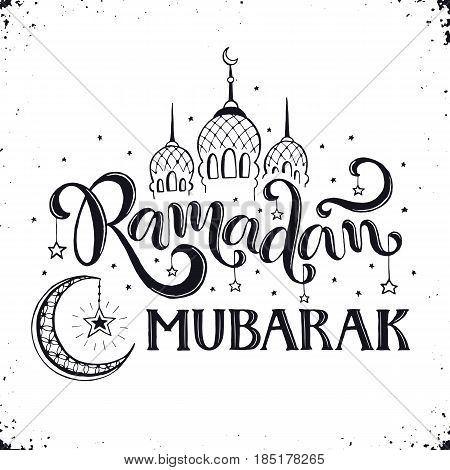 Ramadan Mubarak hand drawn calligraphy isolated on white background. Islam 9th month symbols. Mosque dome, crescent and stars with Ramadan wording in sketch style.