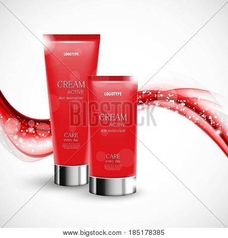 Skin moisturizer cosmetic design template with two red realistic bottles on soft wavy curved elegant shiny lines background. Vector illustration