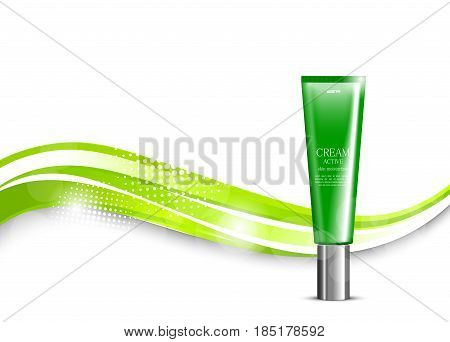 Skin moisturizer cosmetic light design template with green realistic plastic package on wavy elegant shiny dynamic lines and halftone background. Vector illustration