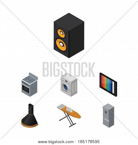 Isometric Technology Set Of Laundry, Cloth Iron, Air Extractor And Other Vector Objects. Also Includes Box, Music, Hood Elements.
