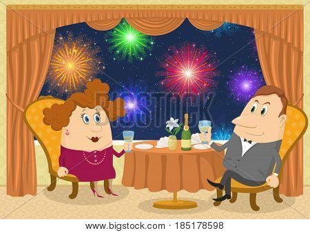 Respectable man and fat lady in red sitting near the table in a restaurant with view on night city and raising a toast, funny cartoon illustration. Vector