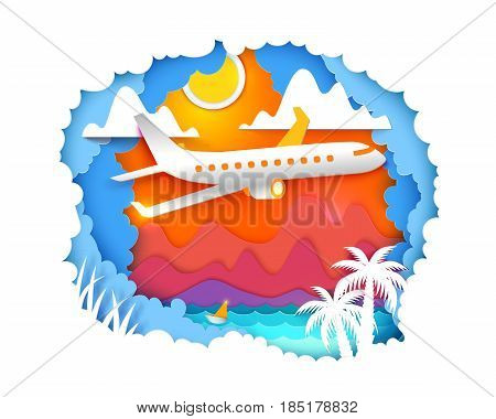 Paper art and craft style. Mountains, sun, sea, palms and airplane is flying on the sky. Vector Paper cut illustration. Tropic landscape for travel, vacation, adventure banners.