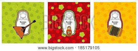 Conceptual vector set of Russian nesting dolls matryoshka icons; logo design elements Russian style concept with sample text against ornament background.
