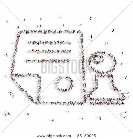 From above people walking and standing in document, certificate emblem isolated on white.3D illustration. 3D-rendering.