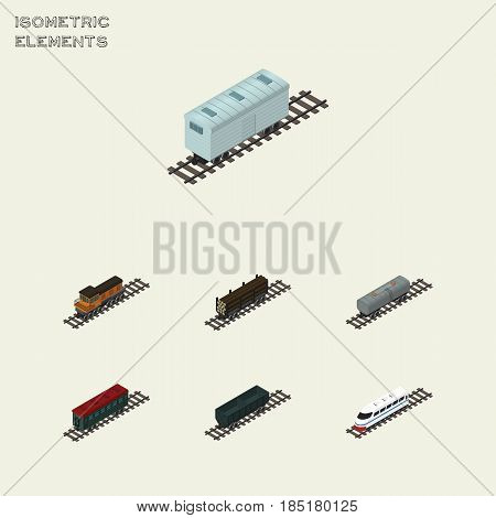 Isometric Wagon Set Of Train, Carbon Railway Container, Underground And Other Vector Objects. Also Includes Speed, Coal, Petroleum Elements.