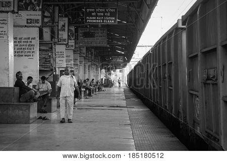 People At Train Station In Kolkata, India
