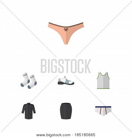 Flat Dress Set Of Foot Textile, Underclothes, Stylish Apparel And Other Vector Objects. Also Includes Gumshoes, Clothes, Tank Elements.