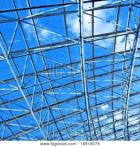 blue glass ceiling
