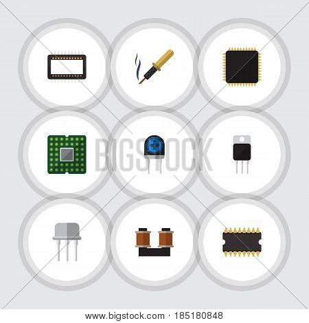 Flat Technology Set Of Mainframe, Coil Copper, Microprocessor And Other Vector Objects. Also Includes Transistor, Fiildistor, Iron Elements.