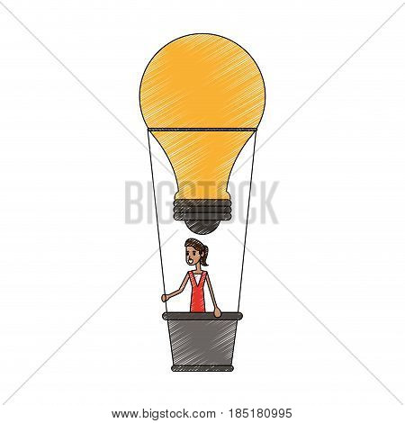 color pencil ligth bulb hot air balloon with woman inside vector illustration