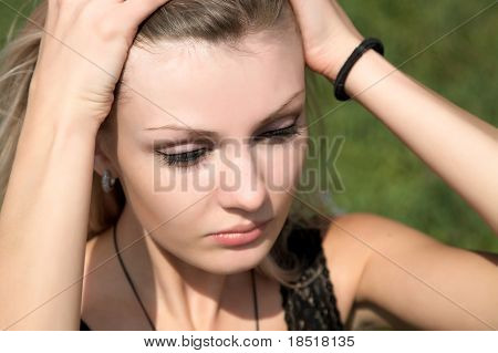 Afflicted Girl Keeps Hands For A Head