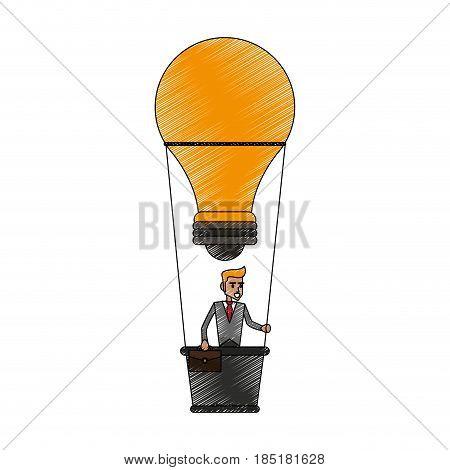 color pencil ligth bulb hot air balloon with executive man inside vector illustration