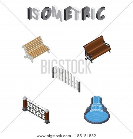 Isometric City Set Of Garden Decor, Sitting, Barricade And Other Vector Objects. Also Includes Waterfall, Barricade, Wooden Elements.