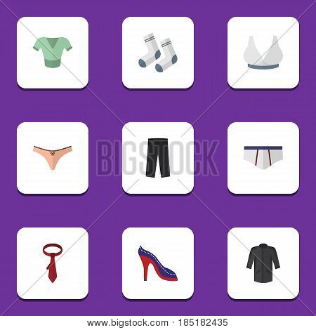 Flat Dress Set Of Heeled Shoe, Brasserie, Underclothes And Other Vector Objects. Also Includes Necktie, Sport, Shirt Elements.
