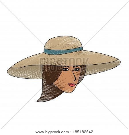 color pencil front face woman with beach hat vector illustration