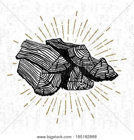 Hand drawn icon with a textured wood pile vector illustration.