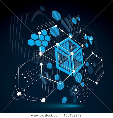 Bauhaus retro dimensional art vector background made using grid circles and rhombuses. Geometric graphic 1960s illustration can be used as booklet cover design. Technological pattern.