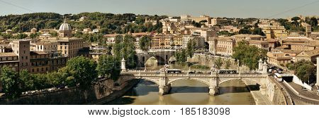 Rome aerial view with ancient architecture, bridge and River Tiber panorama in Italy.
