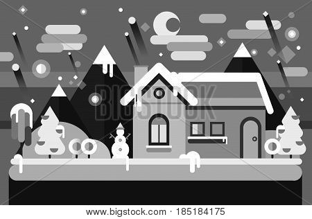 Winter season. Christmas and New Year greeting card. Stock falt illustration of snow landscape with Christmas trees, snowmen, snow drifts. Typography, calligraphy. Noel background