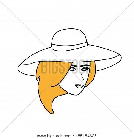 color silhouette image cartoon front face woman with beach hat vector illustration