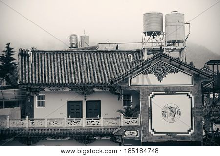 Local Bai style architecture in Dali old town. Yunnan, China.