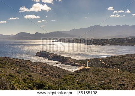 View Of Calvi Citadel And Mountains From Revellata In Corsica