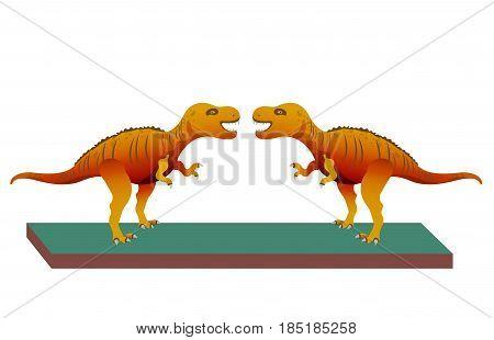 Tyrannosaur - Rex. Big and nice prehistorical Jurassic. Dinosaur Vector illustration.