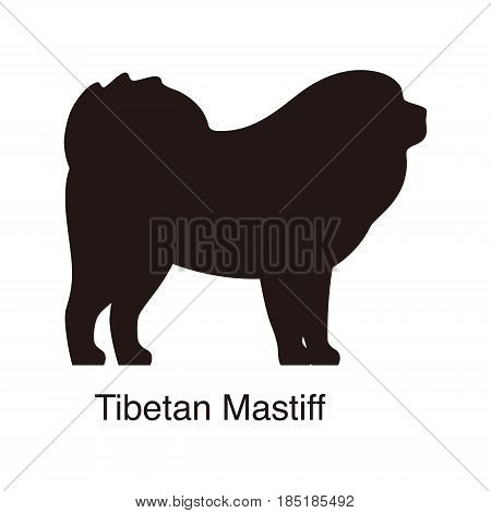 Tibetan Mastiff Dog Silhouette, Side View, Vector