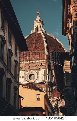 Duomo Santa Maria Del Fiore street view in Florence Italy.