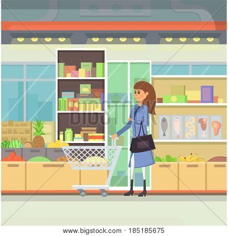 Shopping in a mall cartoon illustration. Peopple in Shopping Centre vector. Food market building