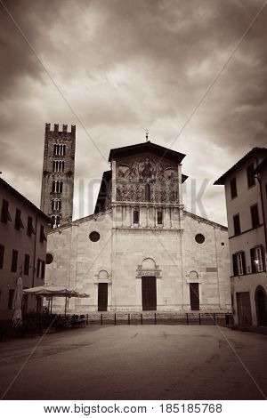 The Church of San Pietro Somaldi and Campanile with bell tower in Lucca Italy