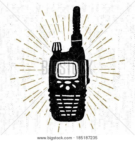 Hand drawn icon with a textured portable radio receiver vector illustration.