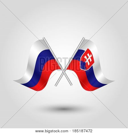 vector two crossed russian and slovak flags on silver sticks - symbol of russia and slovakia