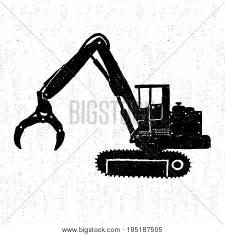Hand drawn icon with a textured timber loader vector illustration.